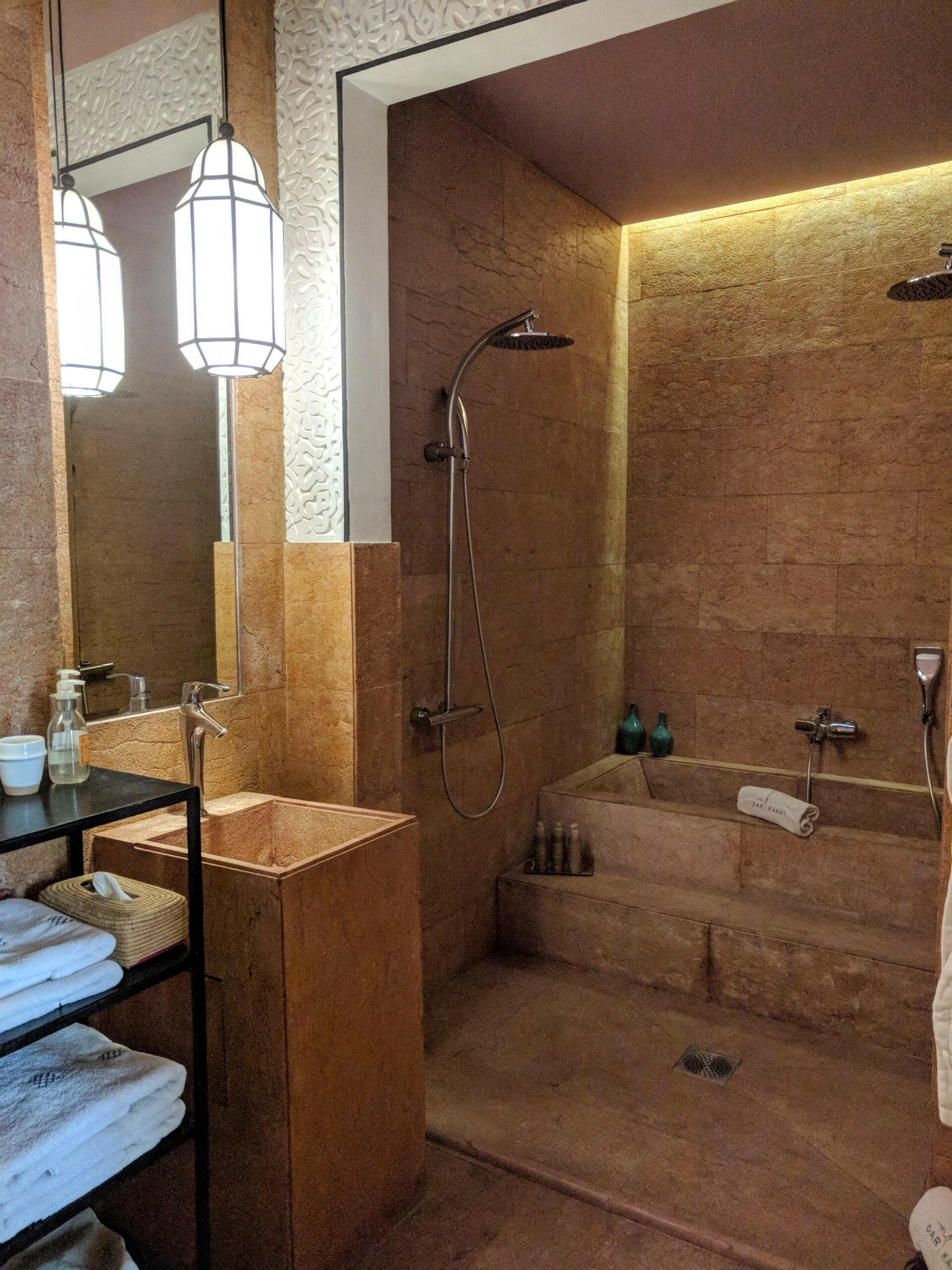 Shower, bath and sink in the bathroom