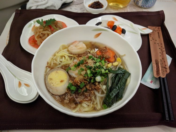 The Danzai Noodles on EVA Air BR 25 between Seattle to Taipei.