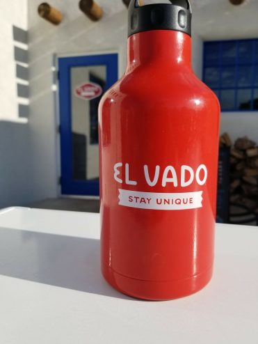 The growler the El Vado Motel provides you to fill at the El Vado Taproom in Albuquerque