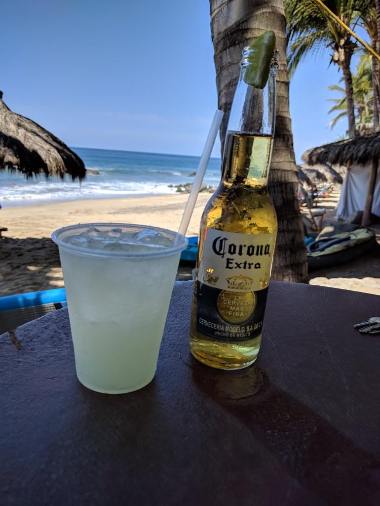 Margarita 90 pesos and a Corona was 55 pesos at the beach bar