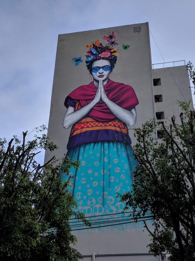 A Frida Kahlo mural in Guadalajara