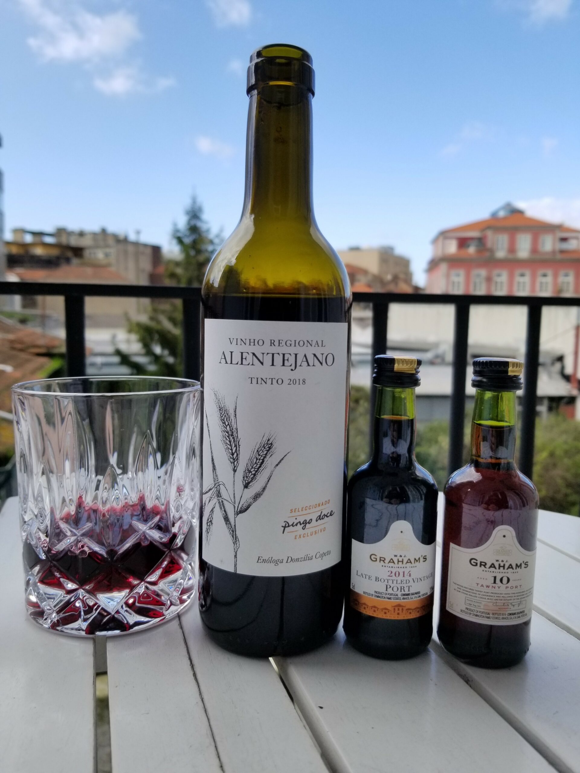 Cheap goods from PIngo Doce; a bottle of red wine for 1.50 euros and small port bottles