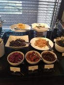 Japanese breakfast foods at the lounge at the Hyatt Regency Tokyo