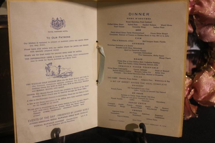Historic menu at The Royal Hawaiian