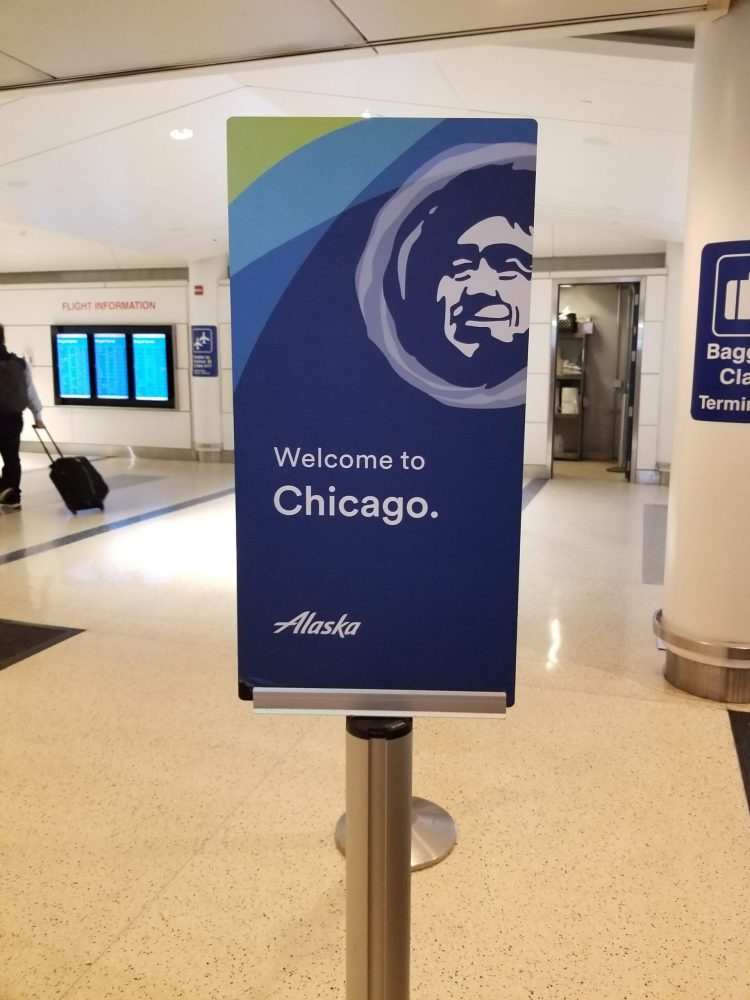 Alaska Airlines Welcome to Chicago Sign