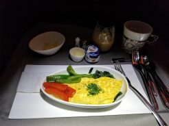 Breakfast omelette; one of the better omelettes we've had on a flight