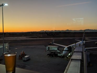Sunset from the Alaska Airlines Lounge in the North Satellite Terminal