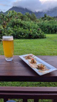 Carpaccio and Honolulu Beerworks IPA at AMA in Hanalei