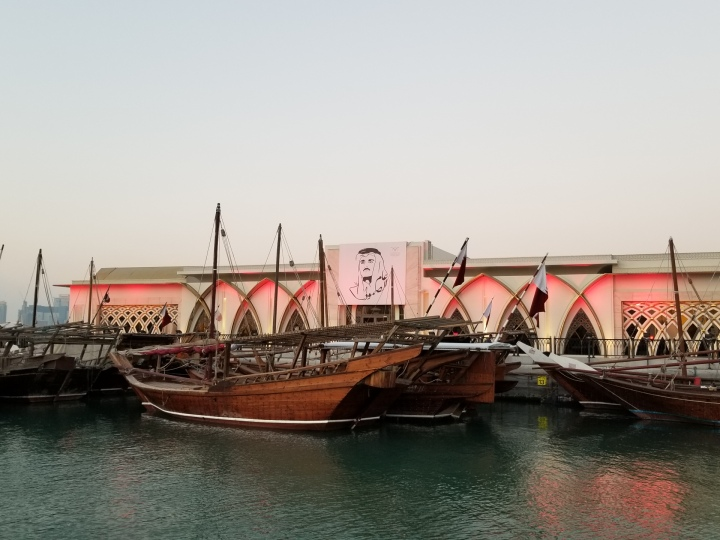 Traditional boats we saw walking the Al Corniche
