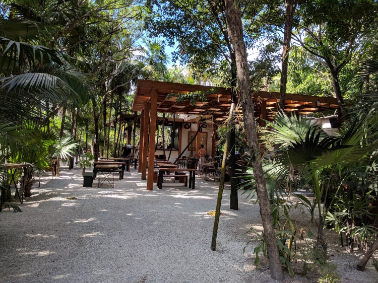 Outdoor dining in the jungle in Tulum