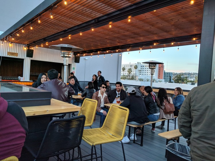 The rooftop patio at Insurgente Brewing on a Saturday night