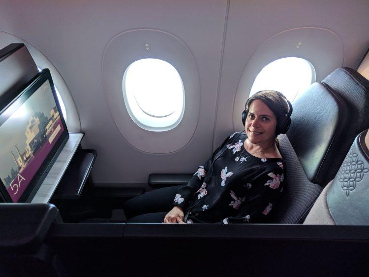 Max in a Qatar Airways QSuite