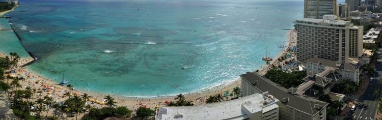 Waikiki Beach panorama from the Hyatt Regency