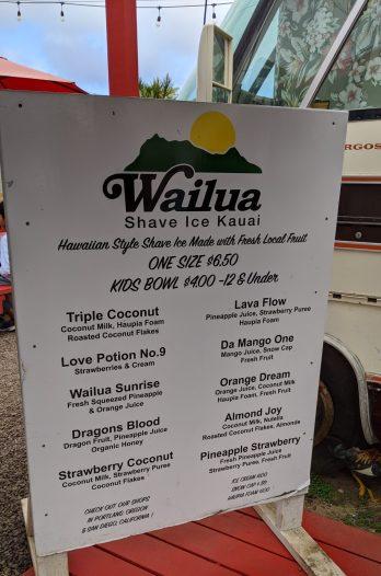 Wailua Shave Ice Menu