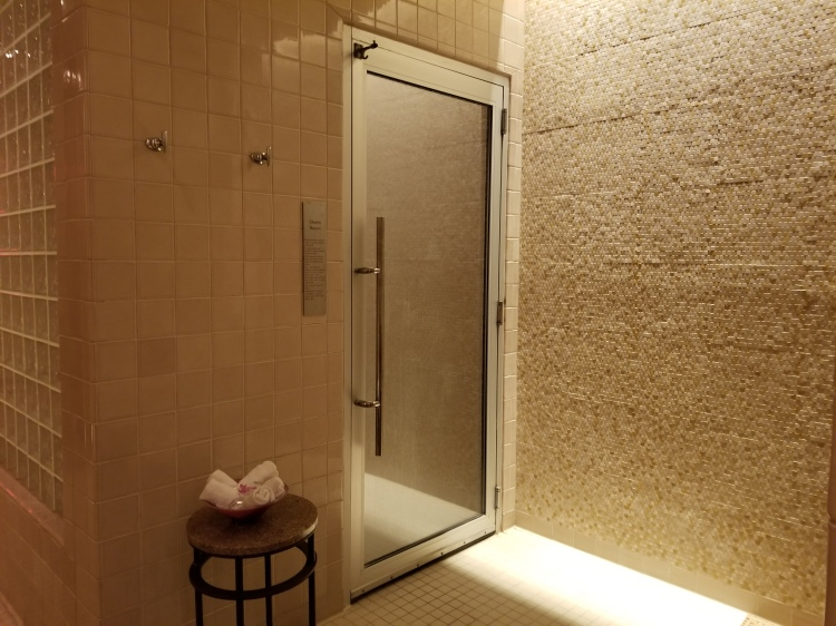 The steam room entrance at the spa