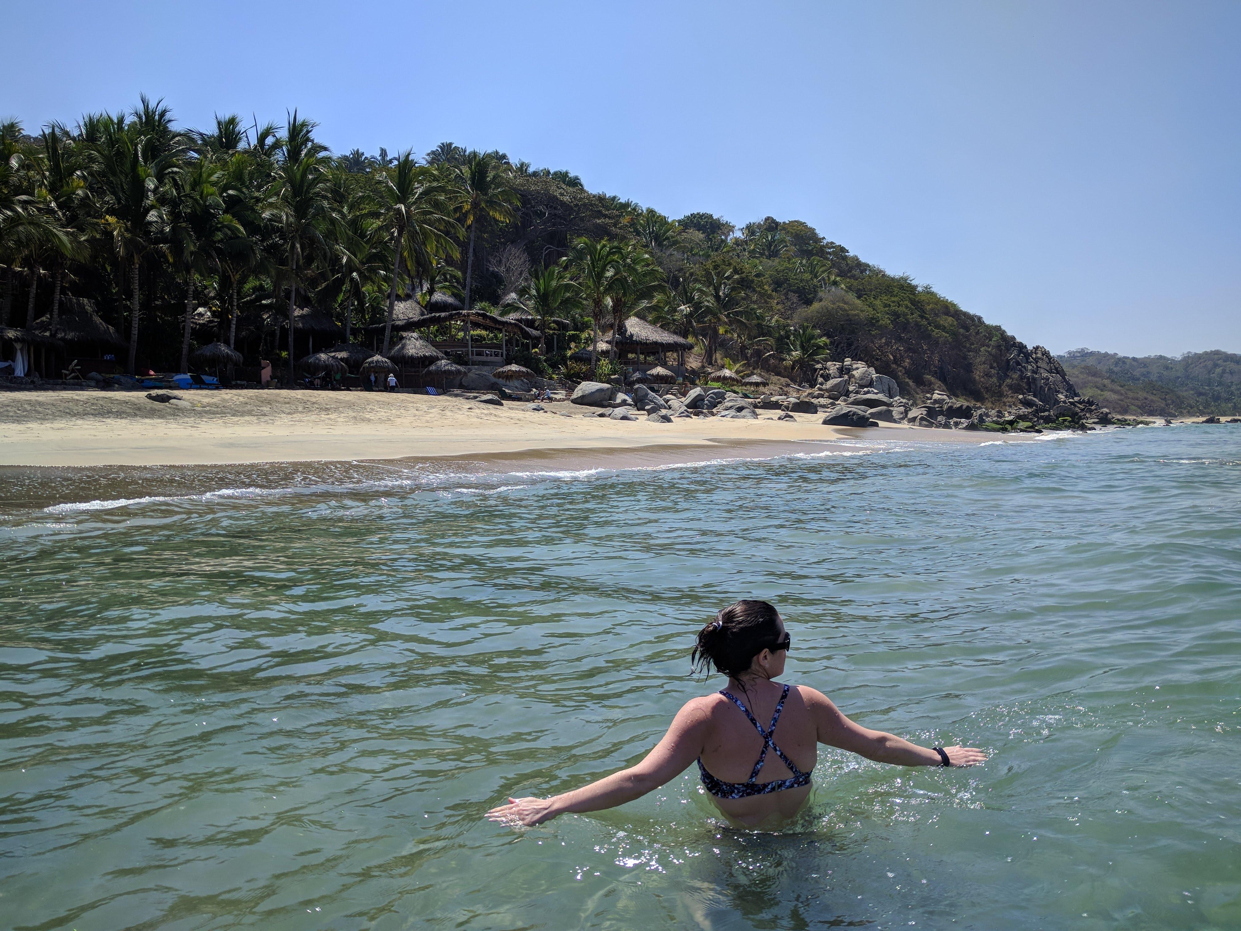 Swimming in the ocean at Playa Escondida