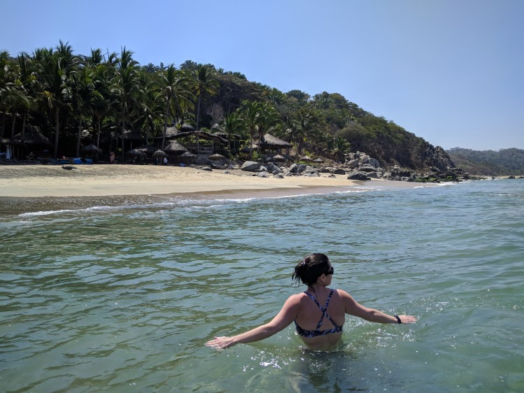 Swimming in the ocean at Playa Escondida