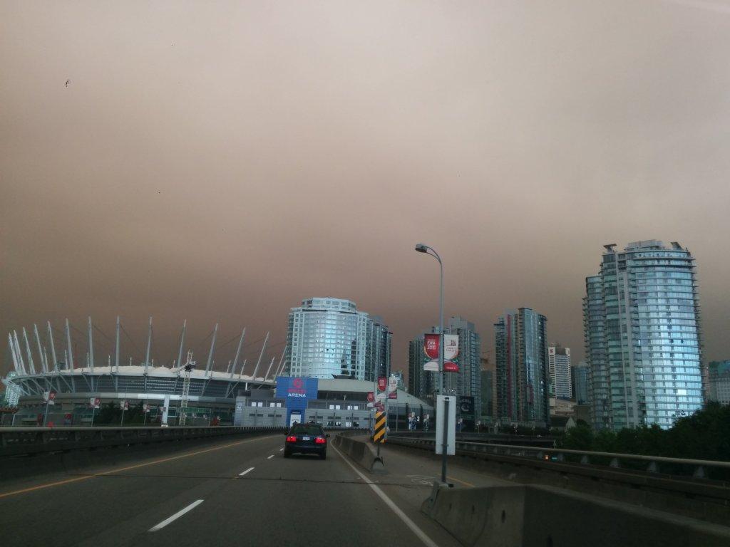 Smoke filled skies