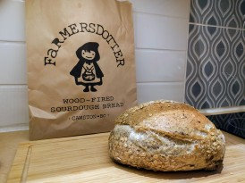 Freshly baked flax sourdough bread by Farmersdotter
