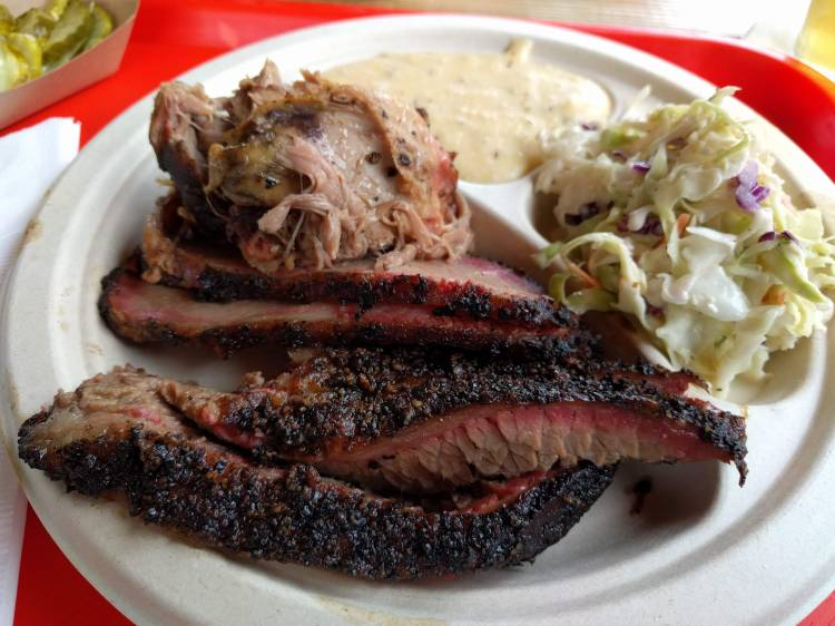 2 Meat plate with coleslaw and jalapeno cheddar grits at Little Miss BBQ Sunnyslope