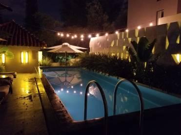Pool at night at Casa Habita in Guadalajara
