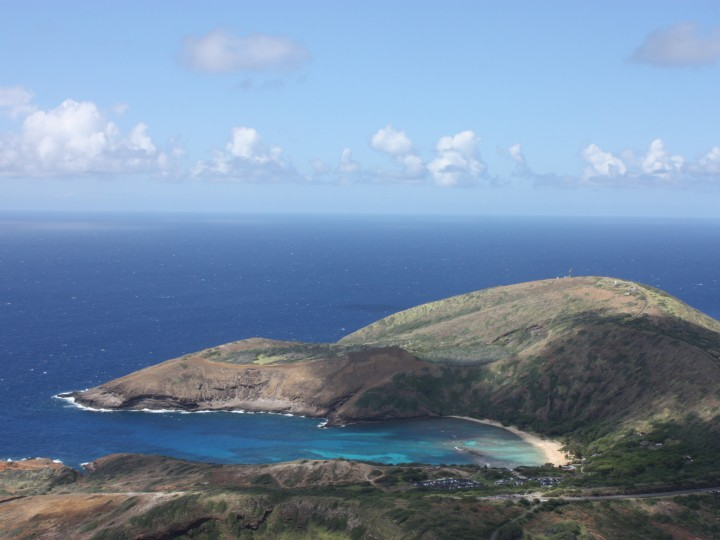 View of Hanauma Bay from the top of Koko Crater