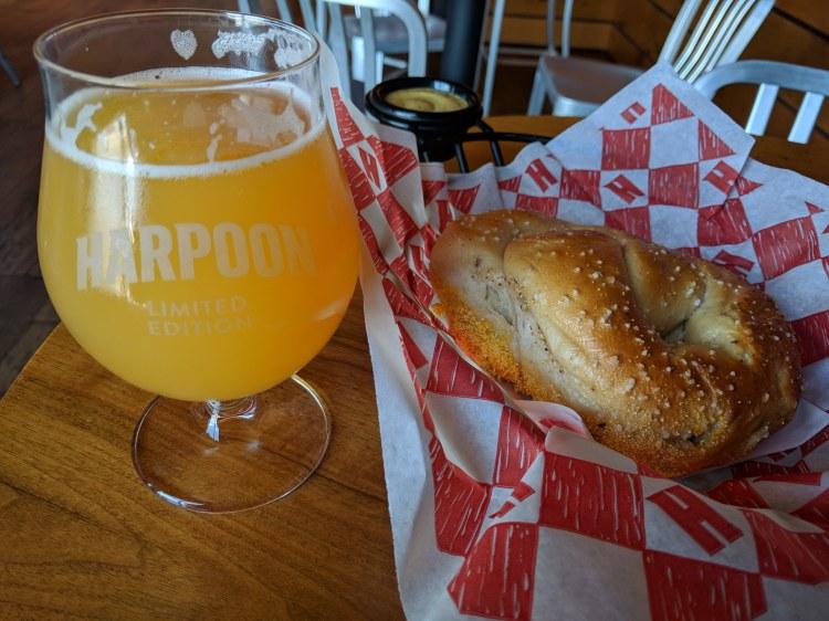 Pretzel and Beer at Harpoon