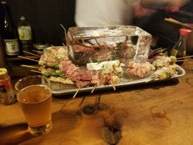 Skewers ready to be cooked at Sasamoto
