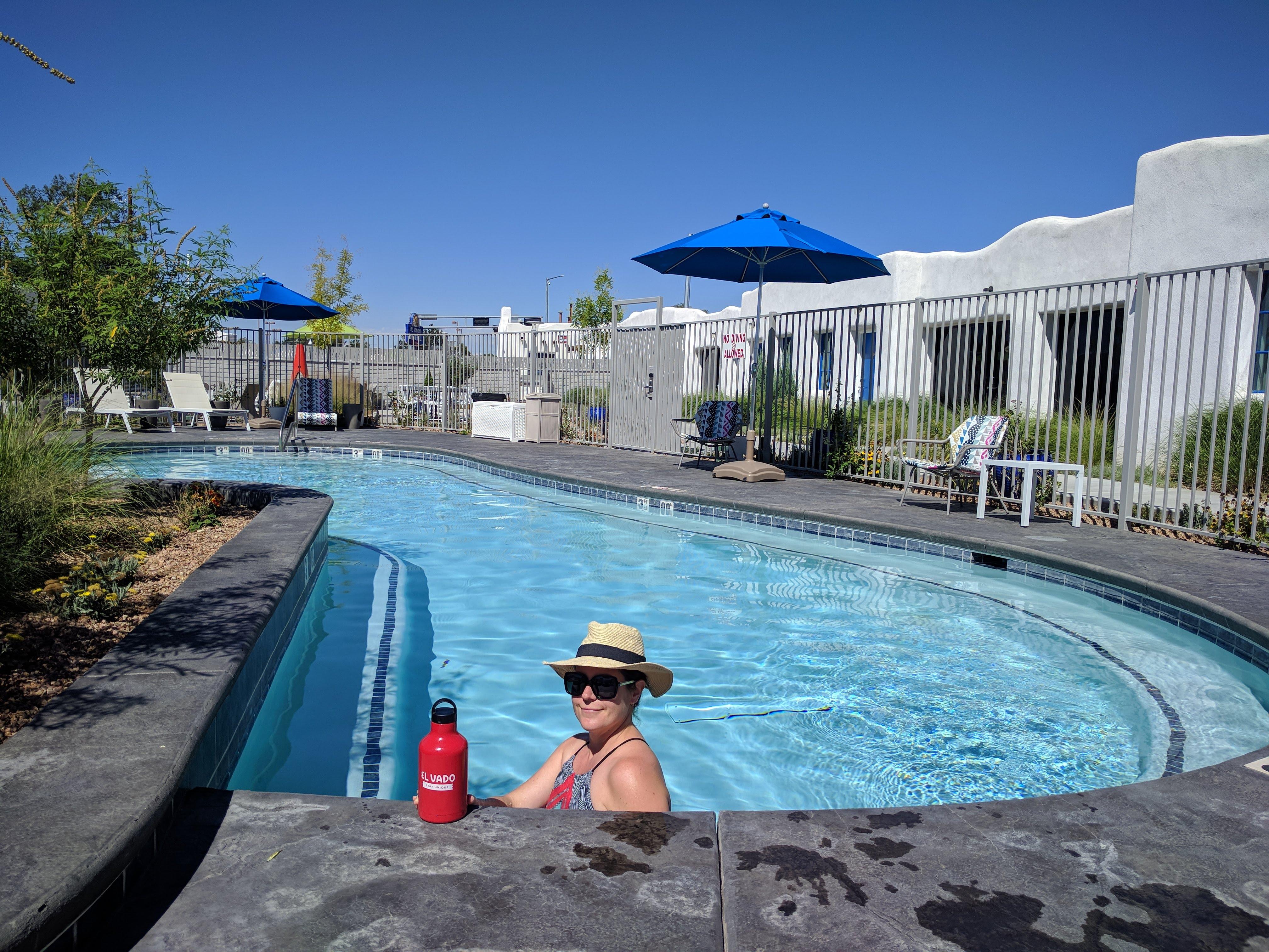 Max in the pool at the El Vado Motel in Albuquerque