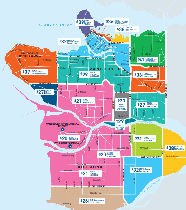 Taking a taxi from YVR - Vancouver Airport: Zone Fares