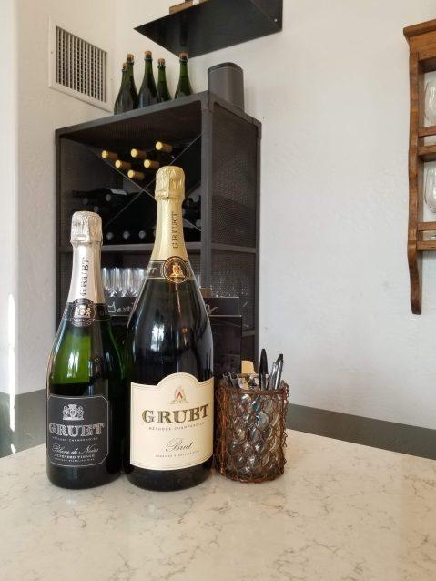 Bottles of wine at the Gruet Tasting Room in Santa Fe
