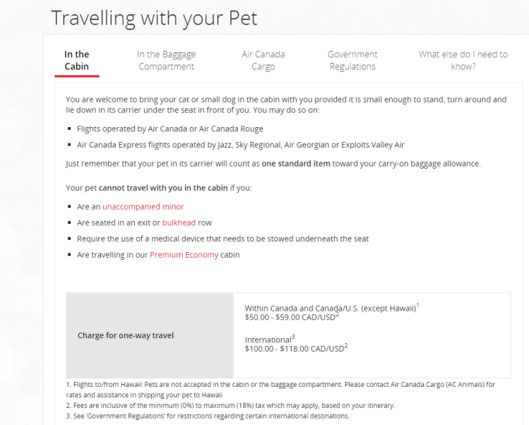 Air Canada's Pet Policy for flying with a dog