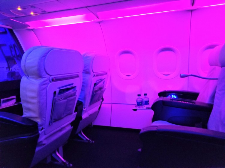 Alaska Airlines First Class on an old Virgin A320 from SEA-LAX