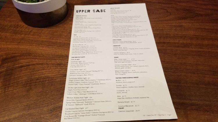 Menu at Upper Case Restaurant and Bar