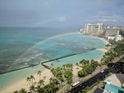 Ocean Front Room at the Waikiki Marriott: view of the double rainbow in the morning