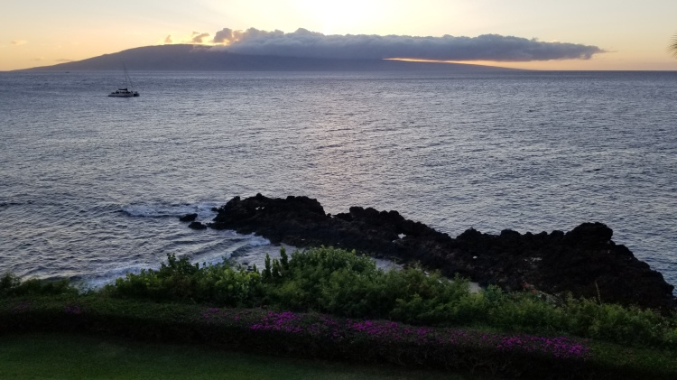 View of the sunset over Lanai from our room