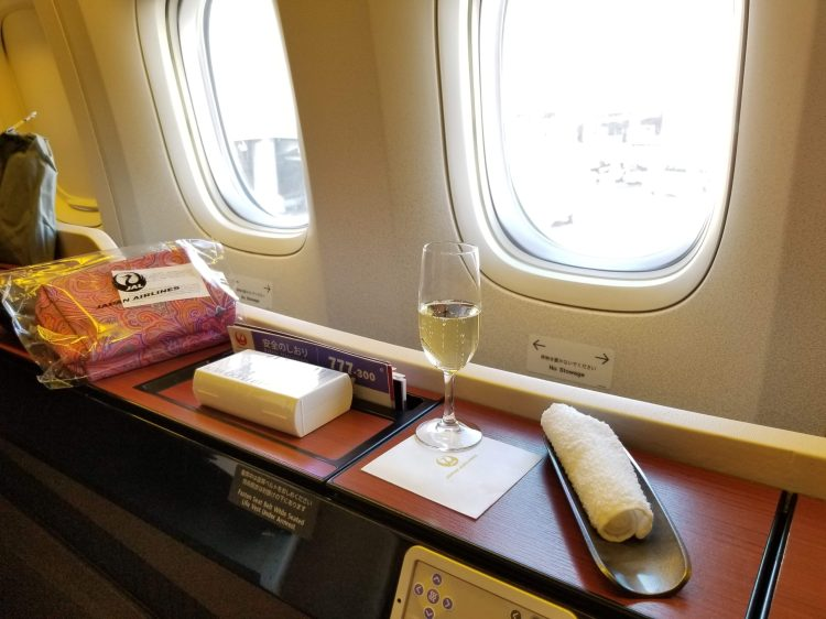 JAL First Class: boarding and welcome