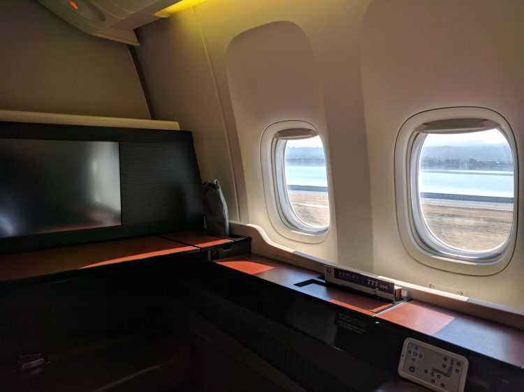 JAL First Class window seat on the 777