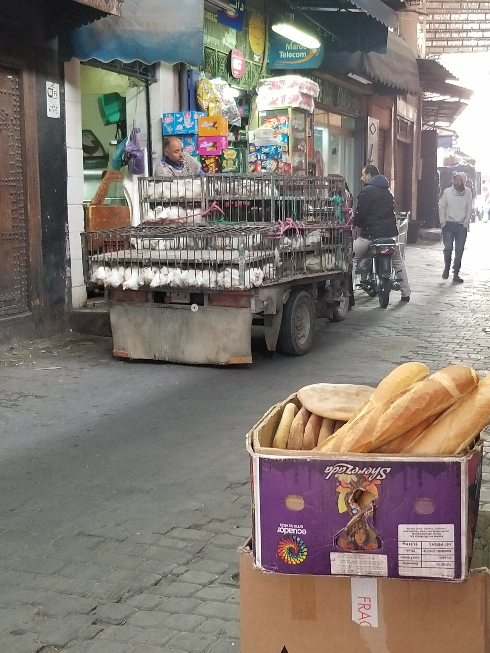 Streets in the medina; yes those are live chickens!