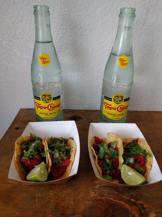 Trompo tacos and Topo Chico