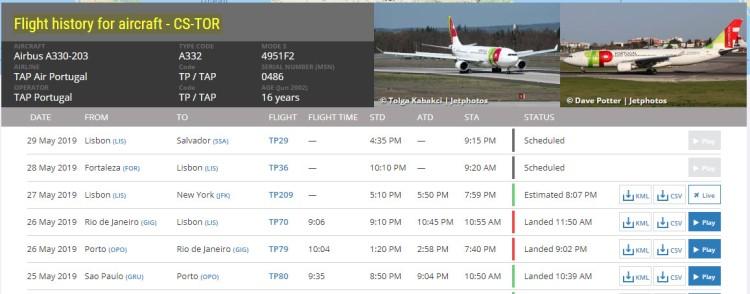 Aircraft history on FlightRadar 24 based on aircraft registration