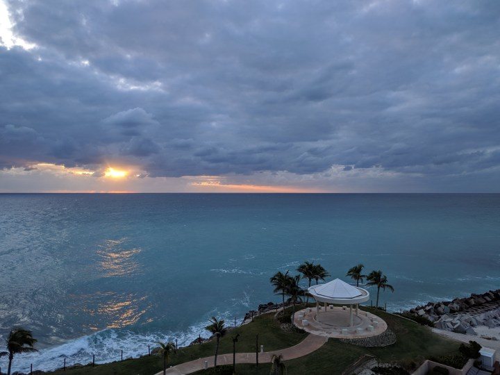 Sunrise from our room on the 6th floor in the Club Tower at the Hyatt Ziva Cancun