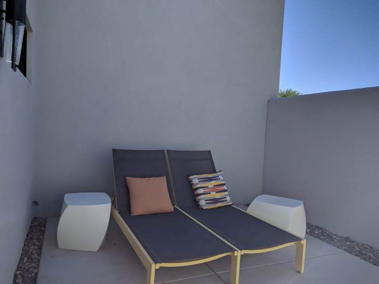 Back patio in the Saarinen bungalow at the Andaz Scottsdale