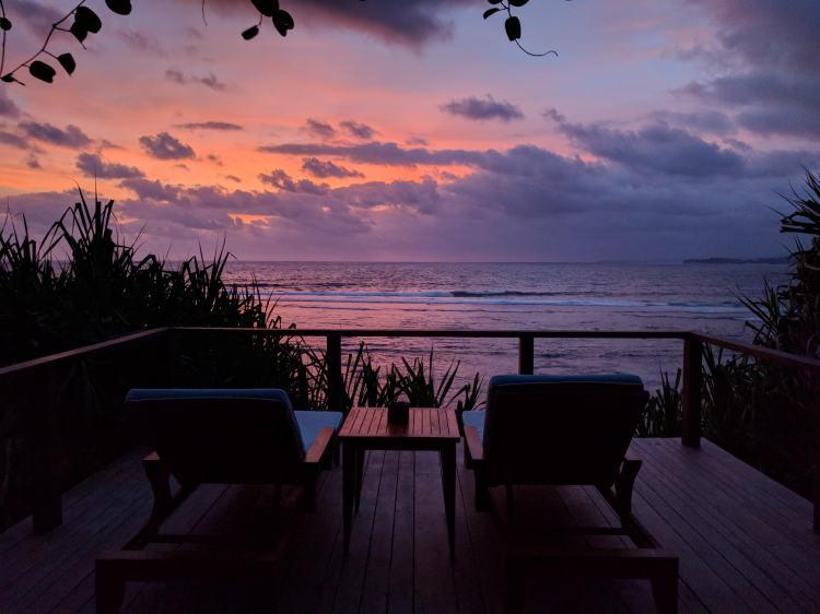 Sunset from the beach hut