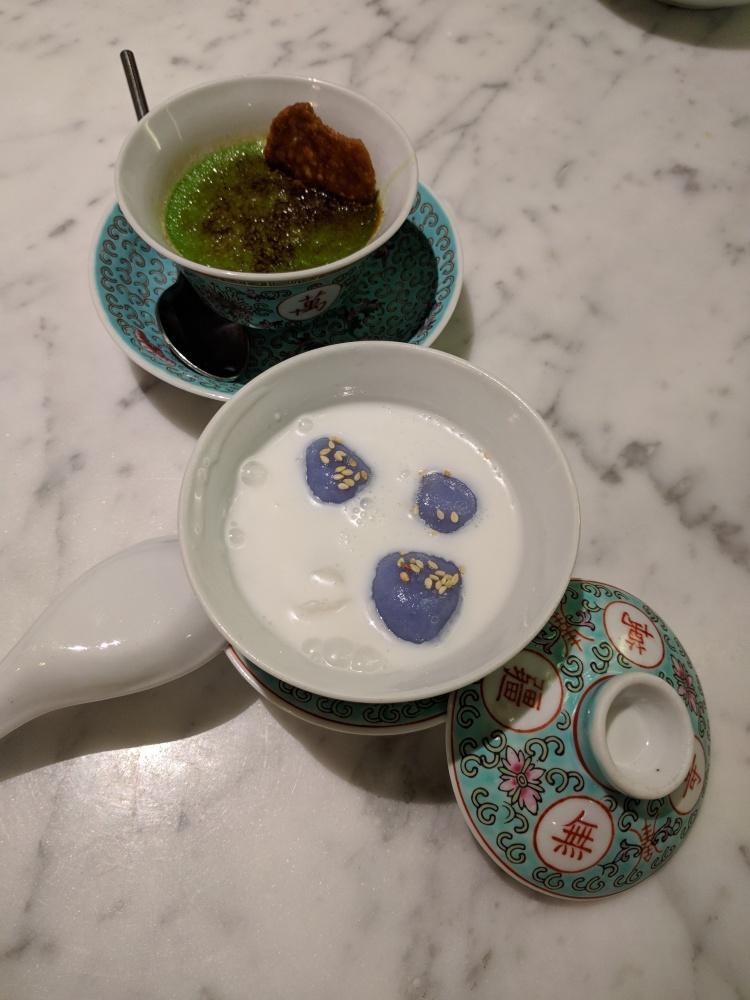 Pandan creme brulee and Tang Yuen at Kebaya
