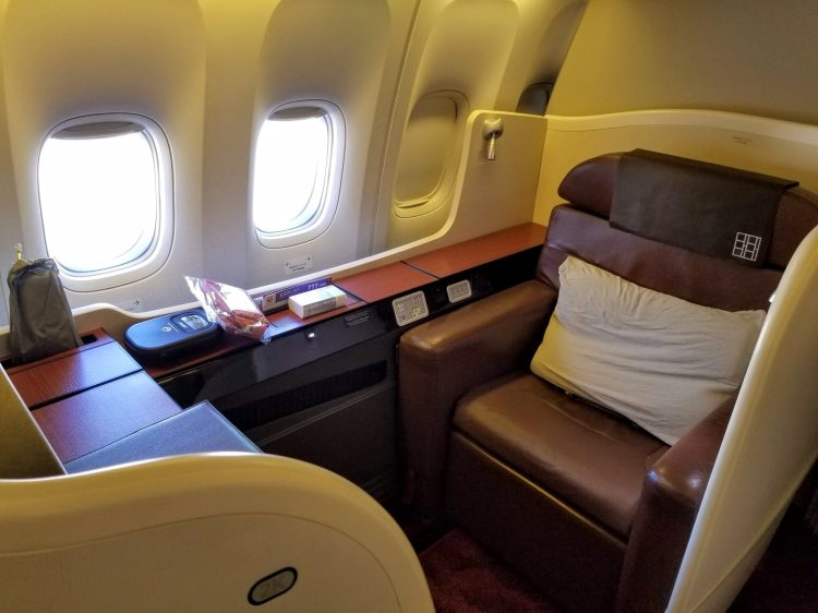 JAL First Class 777: window seat