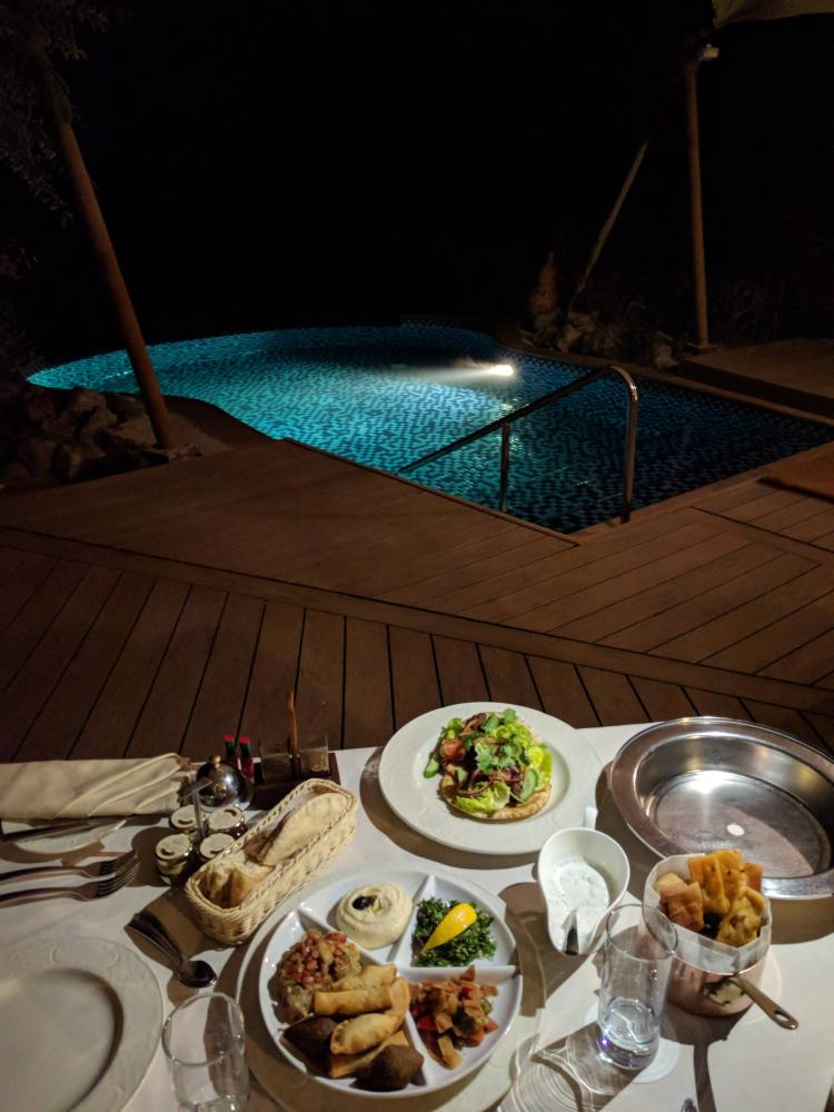 In-villa dining by the pool: Arabic mezzes an lamb kofta to share