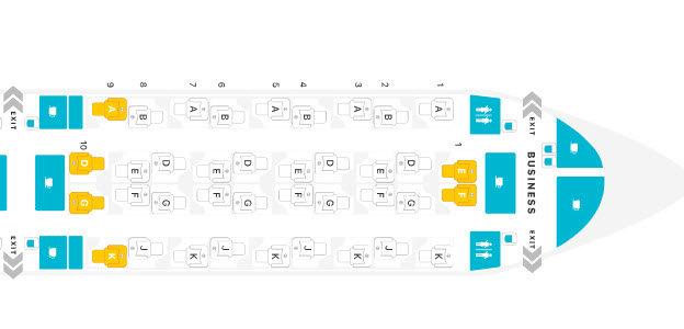 Seatmap on the A350-1000 Source: SeatGuru