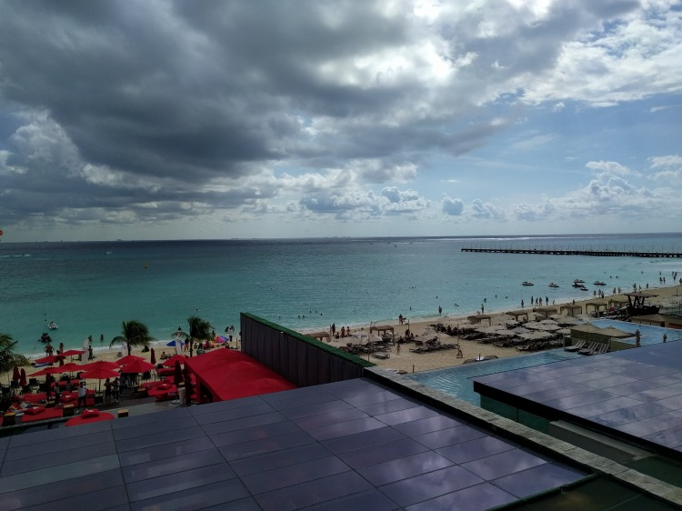 View of the beach and Coralina Beach Club at the Grand Hyatt Playa Del Carmen