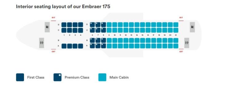 Alaska Airlines Embraer 175 seatmap